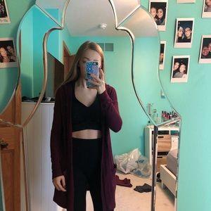 long hooded burgundy cardigan